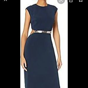 Gorgeous BRAND NEW navy and silver open back gown